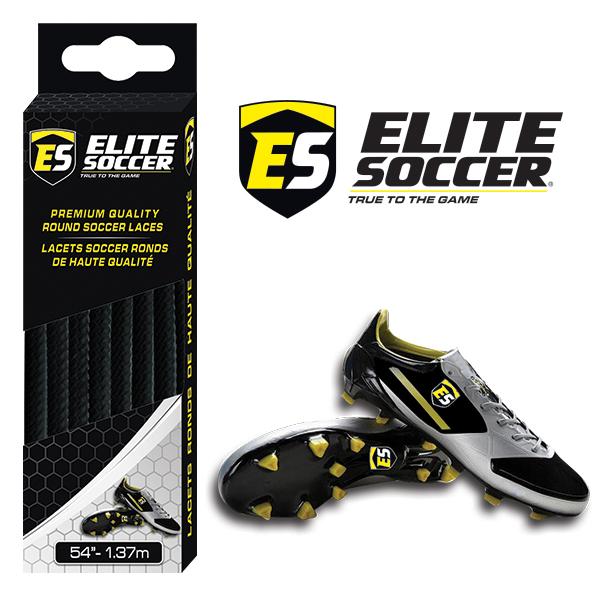 Round Elite Soccer Laces Black