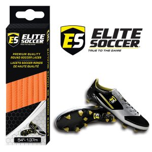 Round Elite Soccer Laces Neon Orange