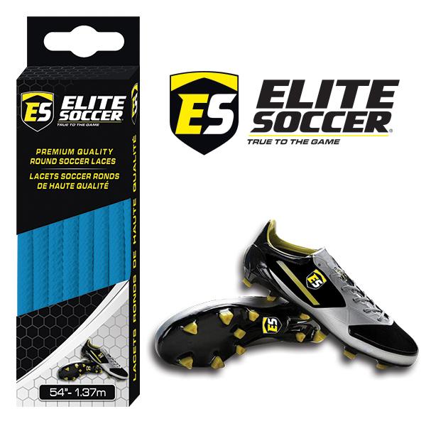 Round Elite Soccer Laces Electric Blue