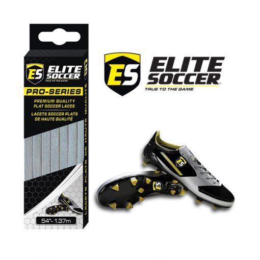 Flat Elite Soccer Laces Grey